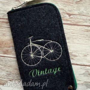 handmade etui filcowe etui na telefon - vintage bike