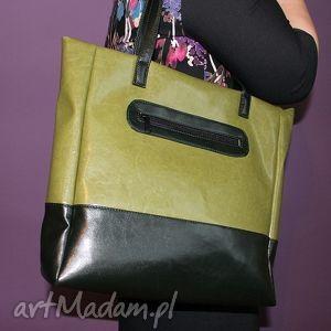 shopper bag - zielony włoska skóra ekologiczna, elegancka, nowoczesna, handmade
