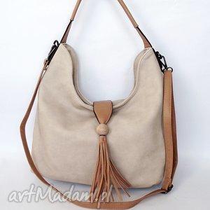 na ramię torebka z chwostem beżowa, torebka, torba torebki