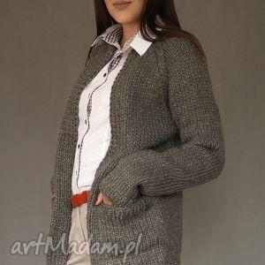 hand-made swetry kardigan z metaliczną nitką