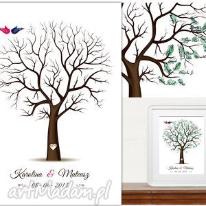 Drzewo Wpisów Gości Weselnych B2 - 50x70 cm, drzewo, księga, gości, wpisów, wesele