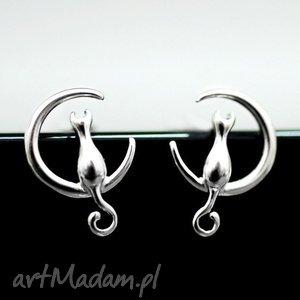 925 srebrne mini sztyfty the moon cat , koty, księżyc, srebro, srebrny, zwierzę