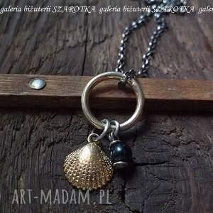 morskie skarby naszyjnik ze srebra i naturalnej perły - perła, rzeczna, srebro