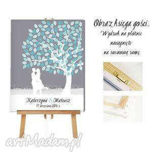 obraz ala księga gości - drzewo zakochanych 50x70 - księga, gości, obraz