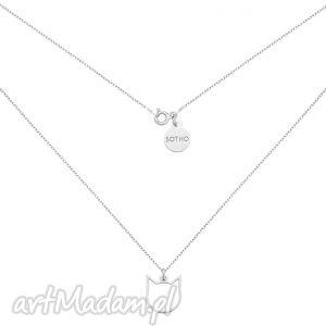 srebrny naszyjnik z kotem - kot, kotek, zawieszka, minimalistyczna, srebro, naszyjnik