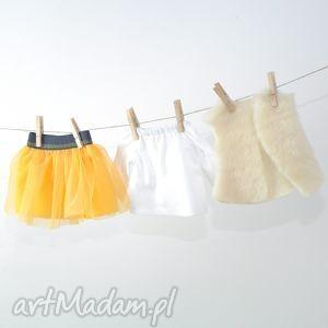 słoneczna tutu biała tunika, ubranka, dlalalek, lalki, spoódniczka, tutu, żółty