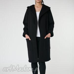 płaszcz z ciepłym kołnierzem czarny s-m 36 38, płaszcz, czarny, długi, ciepły