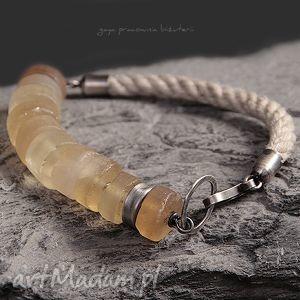 wyjątkowy prezent, bransoletki cytryn na linie, surowe, minimalistyczna, srebro