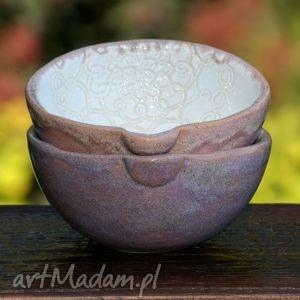 miseczki ceramiczne z dziubkiem, miseczka, miska, ceramiczna, musli, lawenda, pastel