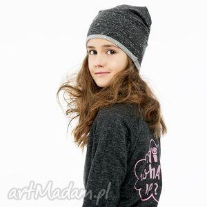 ubranka wygodna czapka z dzianiny dresowej grafitowy melanż, czarny, ciepły, szary