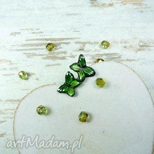 wiosenne kolczyki wkrętki - motyle w odcieniach zieleni, greenery srebro , motylek