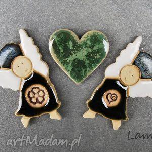 magnesy aniołki z serduszkiem , magnesy, ceramiczne, aniołki, komplet, zestaw dom