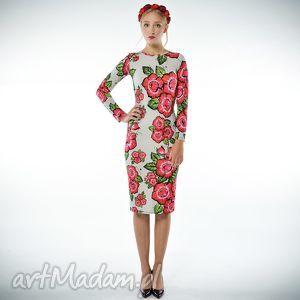 bożena - szara sukienka w kwiaty, jersey, ubrania
