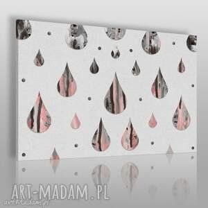 obraz na płótnie - krople marmur różowy 120x80 cm 49801 , krople, łzy
