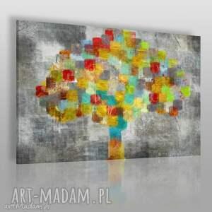 obrazy obraz na płótnie - drzewo kolory kwadraty 120x80 cm 48601 , obraz