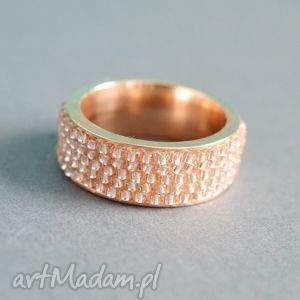 Obrączka YES! - różowa, obrączka, pierścionek, nunn, toho, haft, koralikowy