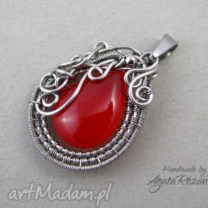 wisior agat malinowy, stal chirurgiczna, wire wrapping, stal, chirurgiczna