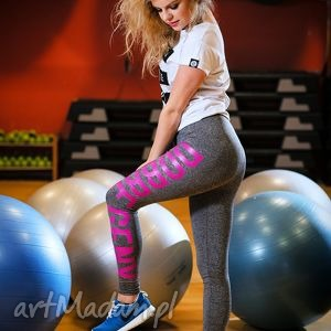 legginsy w sportowym stylu bawełniane z napisem, redmasterclothes