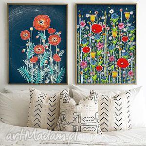 zestaw 2 prac a3, plakat, maki, kwiaty, łąka, obraz, prezent na święta