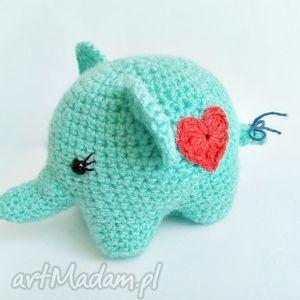 Słoniczka Elza - ,słoń,słonik,maskotka,handmade,szydełko,