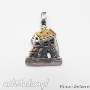 wisiorek srebrny - domki biżuteria, bizuteria, srebro, wisiorki
