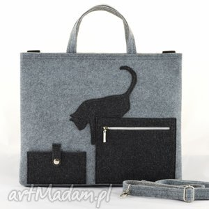 duża szara filcowa torebka- torba na laptopa z kotkiem, laptop, kot, szary, filc