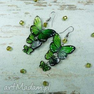długie kolczyki z motylami w odcieniach soczystej zieleni, greenery , długie, wiszące