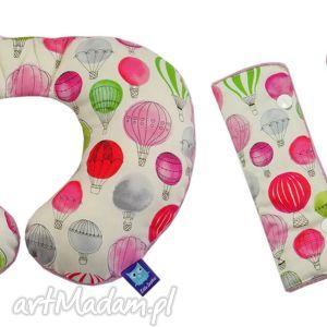 komplet poduszka podróżna ochraniacze, wzór balony - poduszka