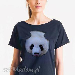 panda - koszulka damska oversize czarna t-shirt, oversize, koszulka, tshirt, prezent