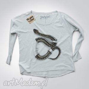 żmija bluzka długi rękaw, nadruk, bluzka, dekolt, rekawy bluzy