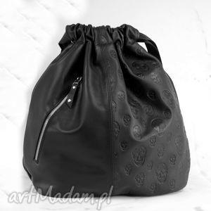 plecaki czarny plecak z czaszkami, torebka, plecak, oryginalny, skóra, pojemny