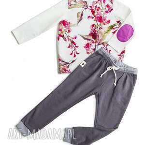 bluzka bloom print - bluzeczka, dziewczęca, wigilia, kwiatowa, ecru