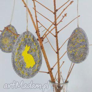 filcowe pisanki haftowane zawieszki, wielkanoc, zajączek, króliczek