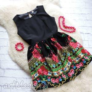 sukienki czarna sukienka z góralskim wzorem cleo folk, sukienka, góralska