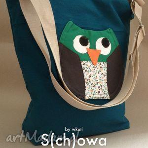 s ch owa na zielono, sowa, torba, aplikacja, a4, zakupowa, święta prezent