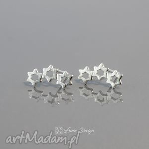 srebrne kolczyki wkrętki gwiazdki, gwiazdy, małe, lekkie, sztyfty