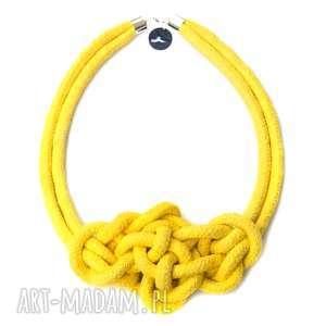 misterny węzeł yellow, modny, pleciony, naszyjnik, lina, żółty, letni