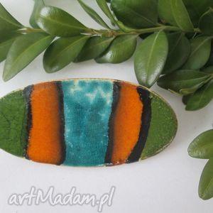 broszka pasiak - ceramiczna, pasiasta, paski, kolorowa, letnia