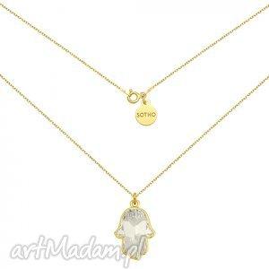 złoty naszyjnik z kryształową ręką fatimy swarovski crystal, modny, naszyjnik, srebro