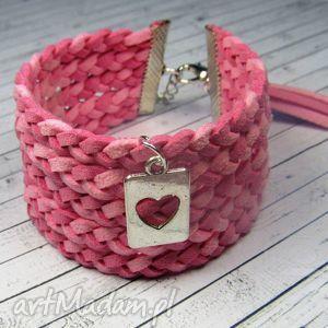 designbyporcupine różowa bransoletka pleciona charms do wyboru