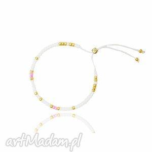 bransoletka minimal - white and pink, bransoletka, handmade, minimal, koralikowa