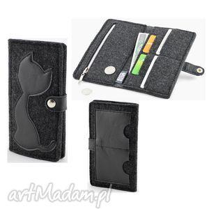 portfele portfel z kotem grafit - midi- czarna skóra, kot, kotek, filc