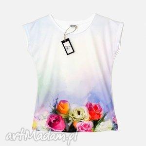 bluzki artystyczna bluzka damska - pastelowe róże wysoka jakość , bluzka, modna