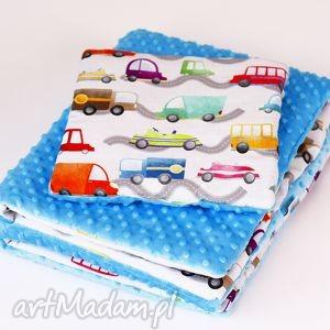 pokoik dziecka zestaw niemowlaka autka niebieski, zestaw, kocyk, poduszka, autka