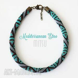 unikalny prezent, naszyjniki mediterranean etno , koralikowe, haft, toho, sznur