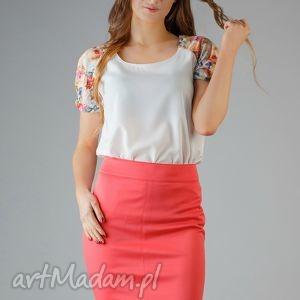 bluzka roma 3, kwiaty, elegancka, modna, wygodna, wstawka, bufka bluzki ubrania