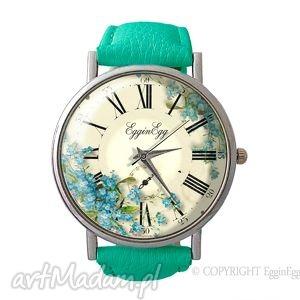 niezapominajki - skórzany zegarek z dużą tarczą - zegarek, skórzany