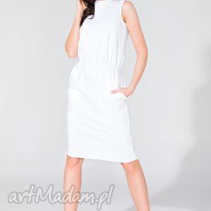 sukienka midi z kieszeniami t321 biały - sukienka, letnia, kieszenie