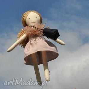 przytullale lisa w pudrowej sukience , lalka, szmaciana, prezent dla dziecka