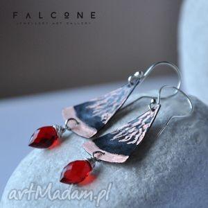 red beauty, kolczyki, srebro, miedź, topaz, surowe, eleganckie biżuteria, wyjątkowe